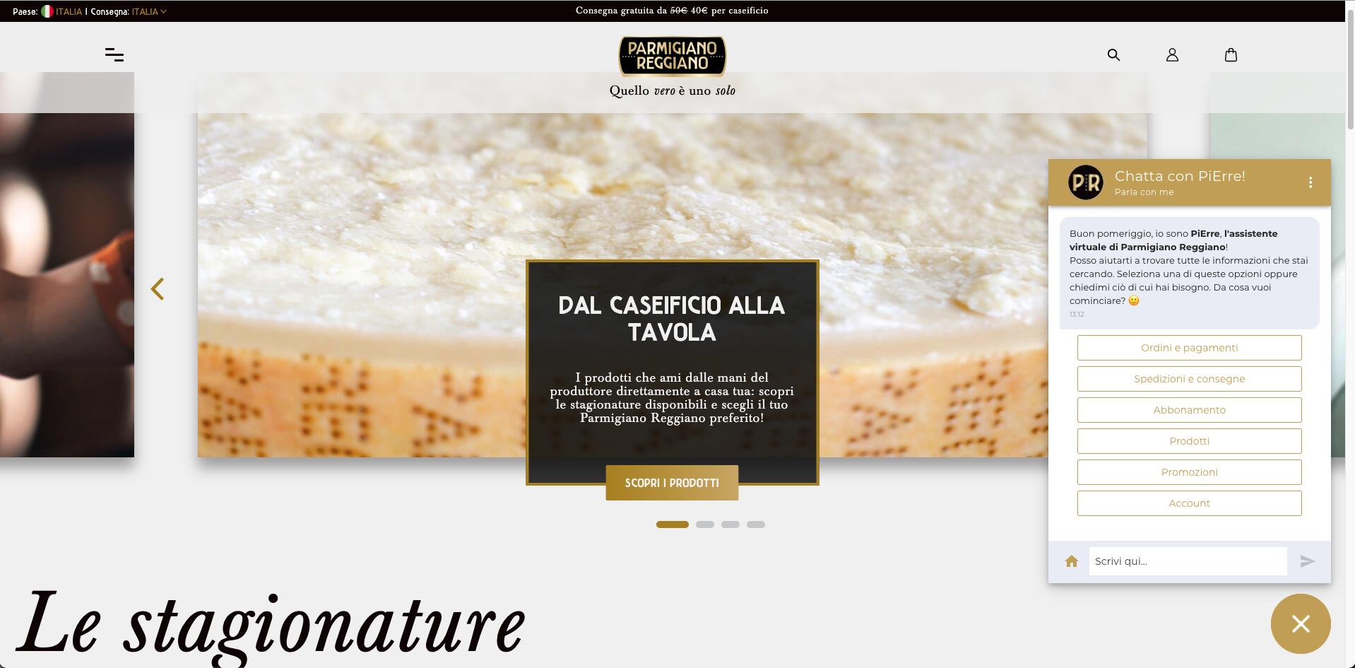 PiErre: un sistema intelligente per l'ecommerce del Consorzio Parmigiano Reggiano