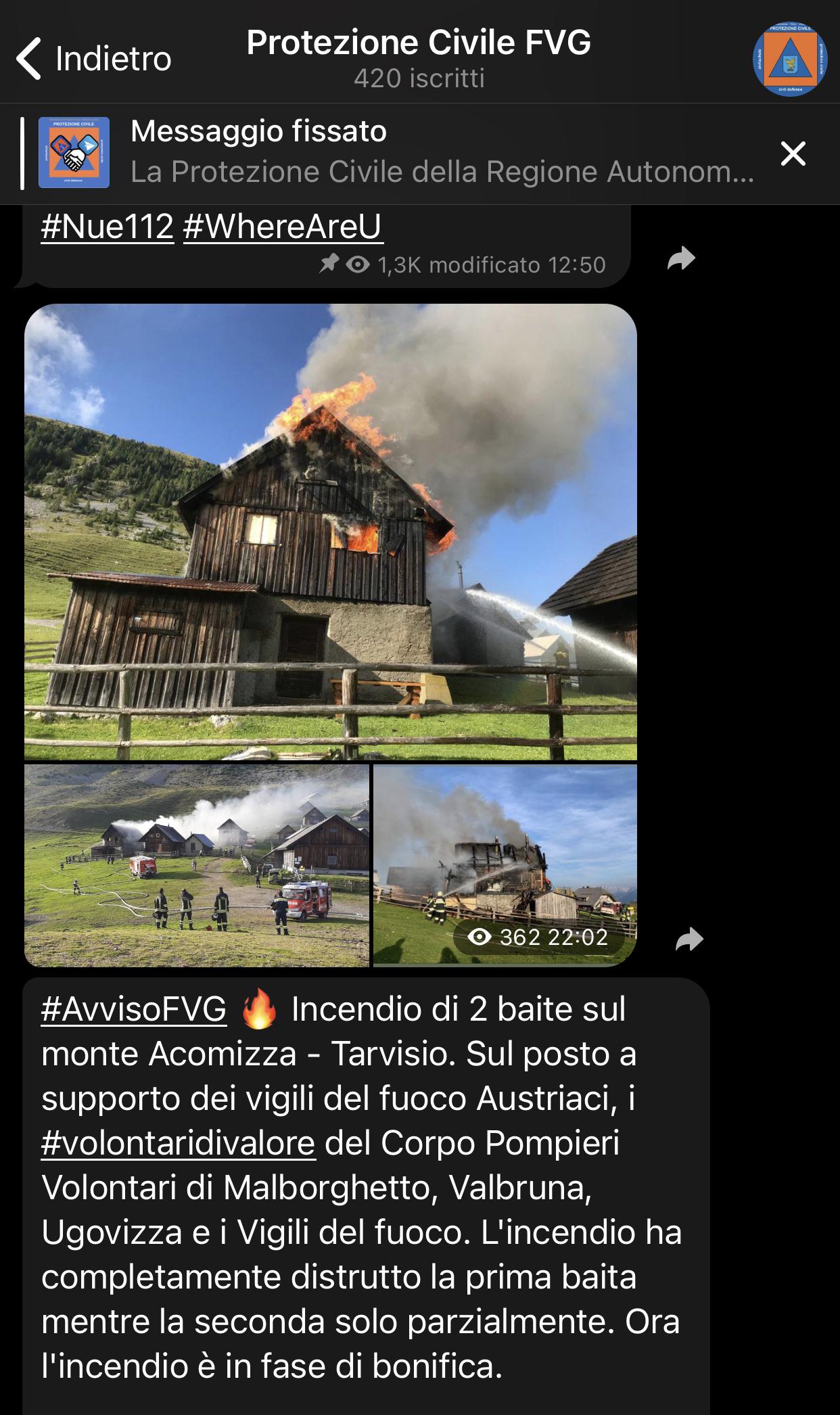La Protezione Civile del Friuli Venezia Giulia sbarca su Telegram e Instagram